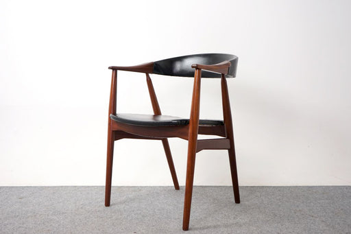 Danish Teak & Vinyl Arm Chair By Th. Harlev For Farstrup - (318-116)