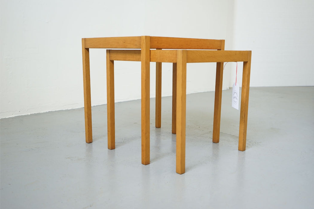A set of Danish Modern Nesting Tables Made With Oak - (311-189)