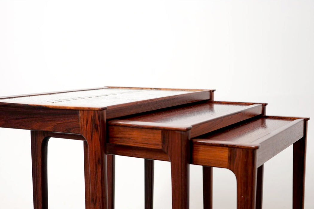 A set of Danish Rosewood & Tile Nesting Tables - (318-114)
