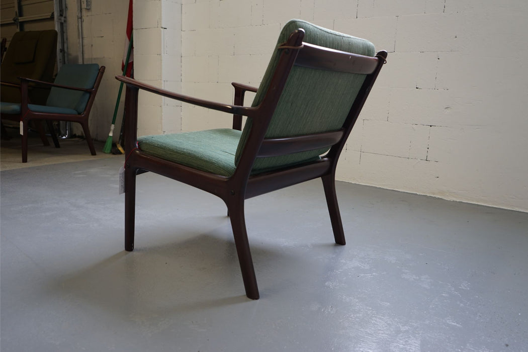 Ole Wanscher PJ 112 Mahogany & Fabric Lounge Chair For P Jeppesen - (312-211)