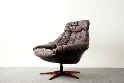 Danish Modern Leather Swivel Chair By H.W. Klein - (318-164)