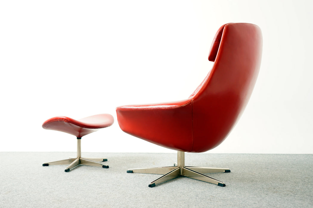 Danish Swivel Chair Leather By H.W. Klein - (318-113)