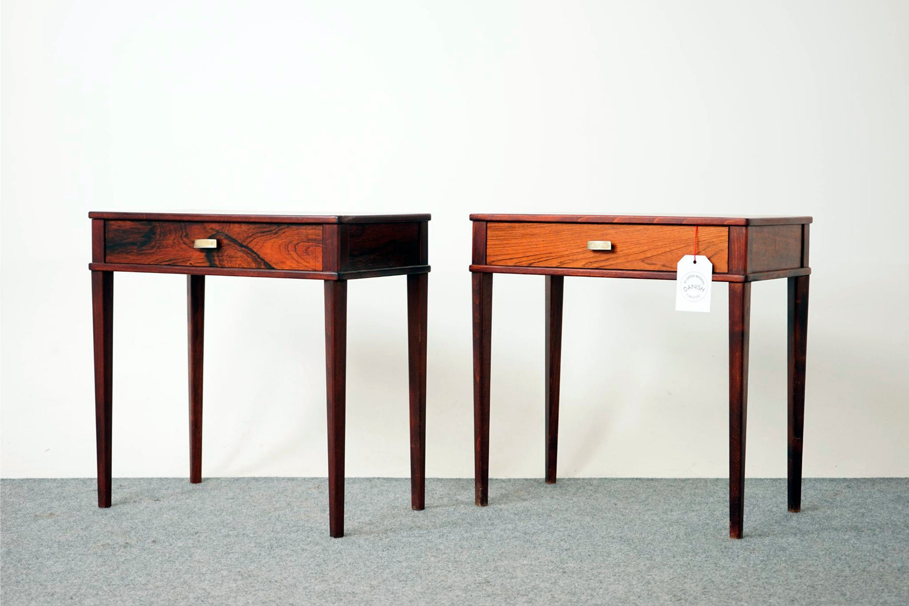 A pair of Mid Century Rosewood Bedside Tables - (316-092)