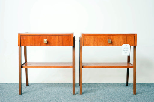 A pair of Mid Century Teak Bedside Tables- (316-138)