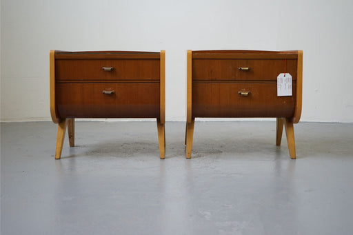 A pair of Mid-Century Bedsides Made With Beech & Teak - (312-054.2)