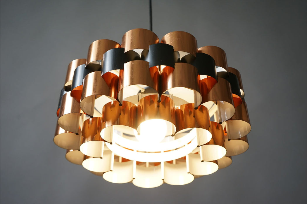 Danish Copper Ceiling Light By Werner Schou For Coronell Elektro - (314-187.2)