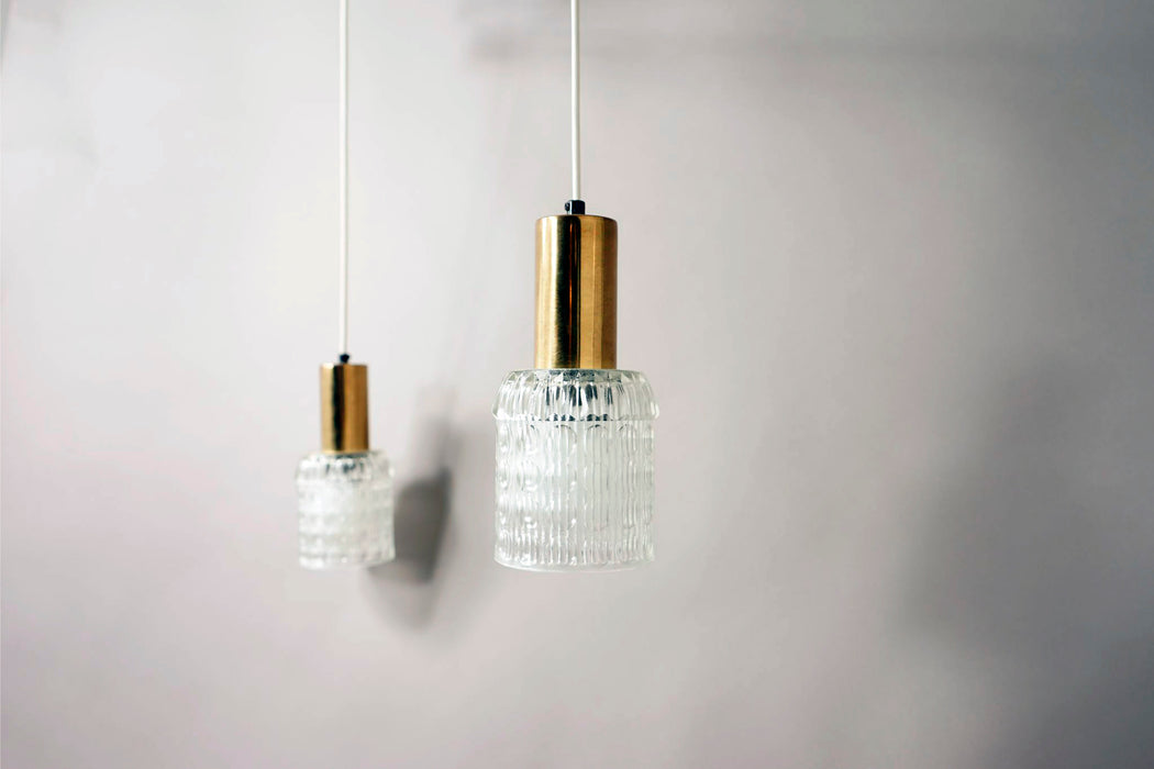 Mid-Century Glass and Teak Ceiling Light  - (314-061.1)
