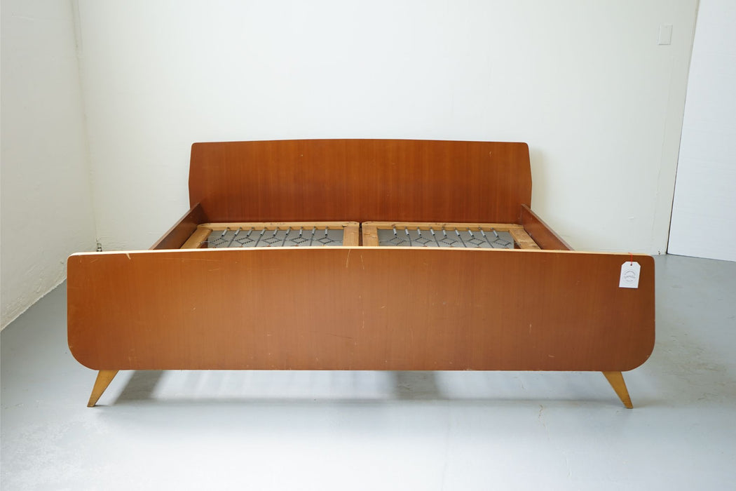 A Mid-Century European King Size Bed Made With Beech & Teak - (312-054.1)