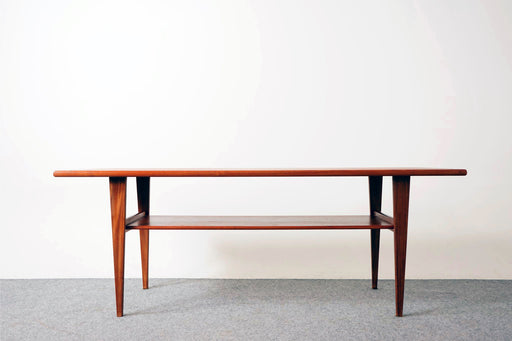 Mid-Century Modern Teak Coffee Table with Shelf  - (317-018)