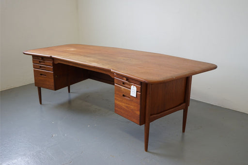 Mid-Century Modern Desk Made With Teak & Caned - (D623)