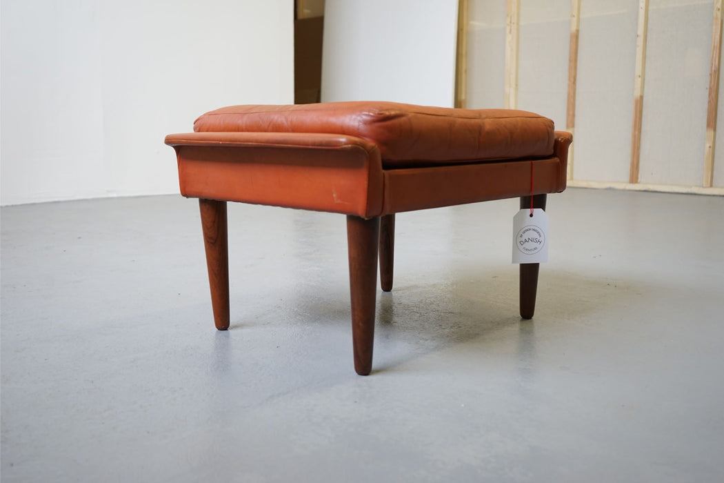 Mid-Century Modern Leather & Rosewood Footstool - (312-072)