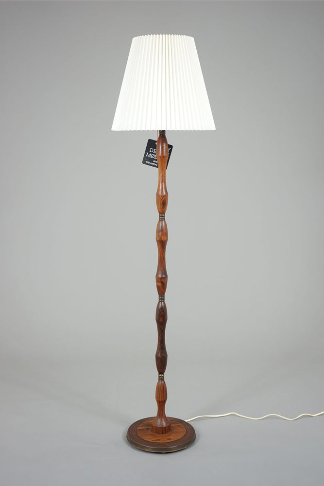 Rosewood Retro Floor Lamp With Brass Detail - (311-161.5)