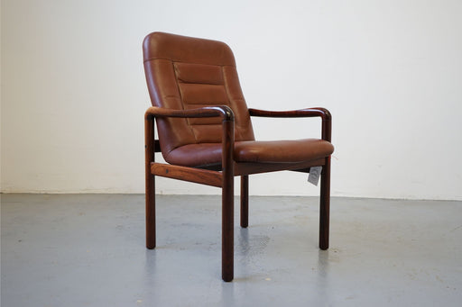 Scandinavian Rosewood & Leather Arm Chair For Dyrlund - (315-045.7)