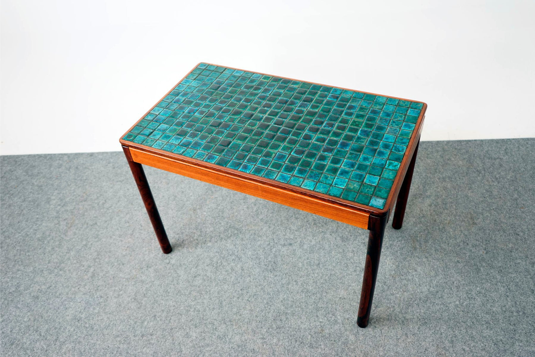 Scandinavian Tiled Rosewood Side Table - (D681)