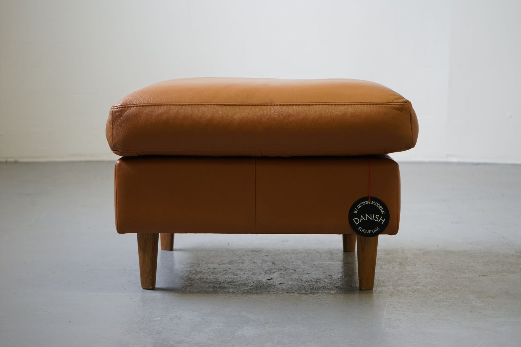 A Vintage Design Leather & Oak Footstool - (313-006.2)