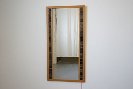 A Vintage Modern Mirror Made With Oak & Tiled - (314-127.6)
