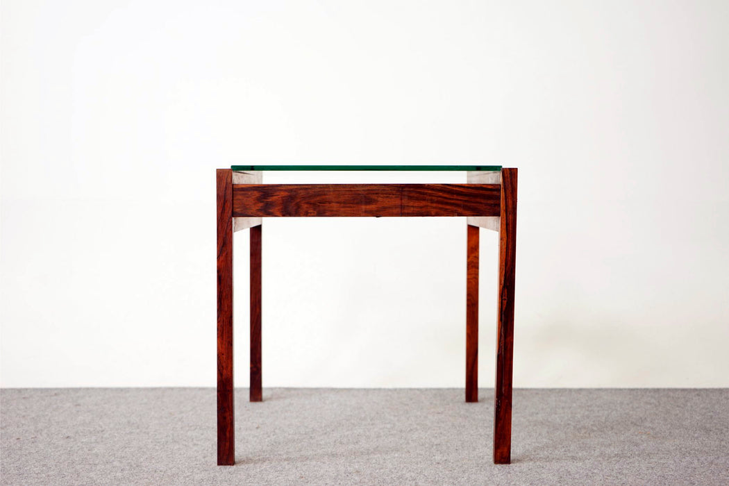 Vintage Modern Rosewood & Glass Side Table - (316-023)