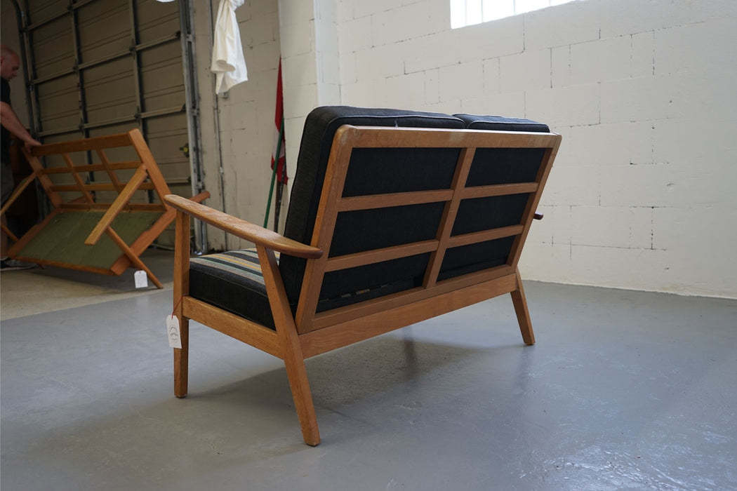 A Vintage Modern Two Seater Loveseat Made With Oak & Teak - (312-208)
