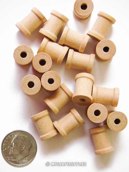 Little Natural Wood Spools 1/2 Inch Wide and 5/8 Inch Tall