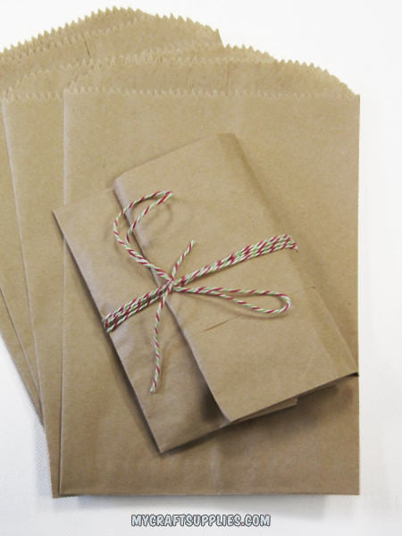 100 Solid Kraft Paper Bags in (4 SIZES Available)