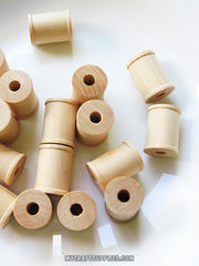 50 Wooden Spools 1 x 3/4 inch - Wood Bobbin for Crafting, Twine, Thread, Sewing or Decor