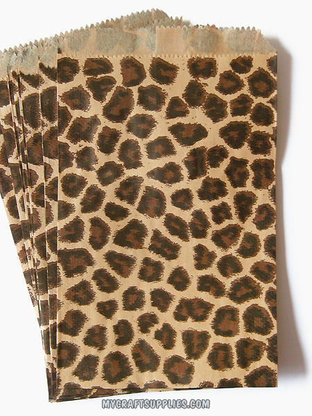 Leopard Print Paper Bags, Set of 100