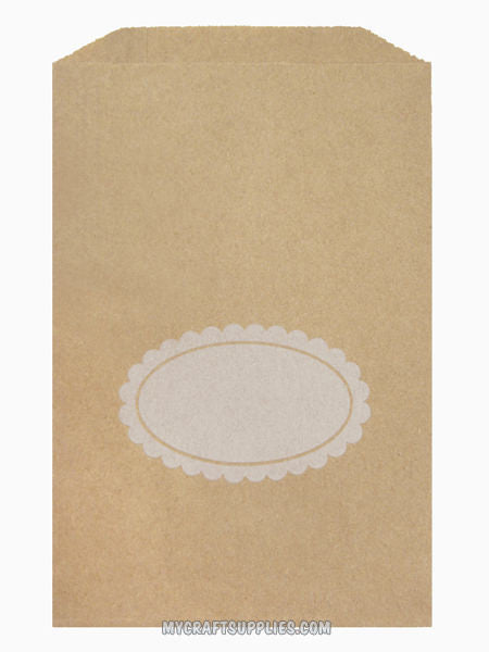 "5"" x 7.5"" Kraft Paper Bags with Scalloped Oval for Personalizing (Set of 25)"