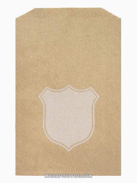 "5"" x 7.5"" Kraft Paper Bags with Shield Design for Personalization (Set of 25)"