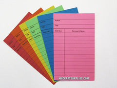 50 Brightly Colored Library Cards