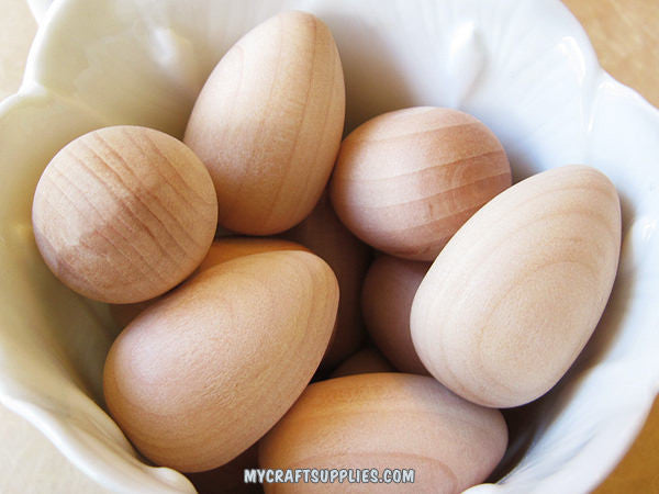 12 Solid Wood Eggs, 1 1/4 x 7/8""
