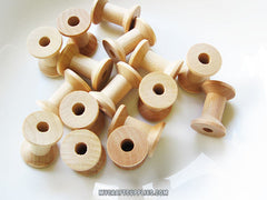50 Wooden Spools 1 1/8 x 7/8 inch - Wood Bobbin for Crafting, Twine, Thread, Sewing or Decor