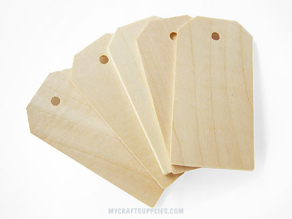 25 Natural Wood Rectangle Hang Tags, 3 1/4""