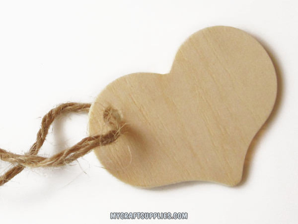 25 Natural Wood Heart Tags with Drilled Hole, 2 5/16 inches wide
