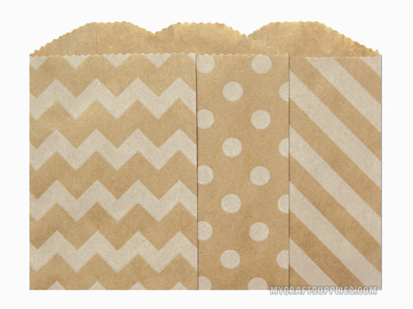 "2.75"" x 4""  Kraft Paper Bags with Assorted Designs"