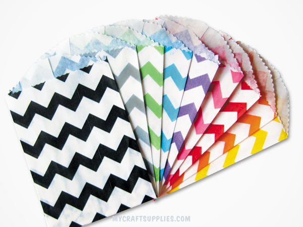 Multi-Color Chevron Paper Bags size 5 x 7.5 Inches