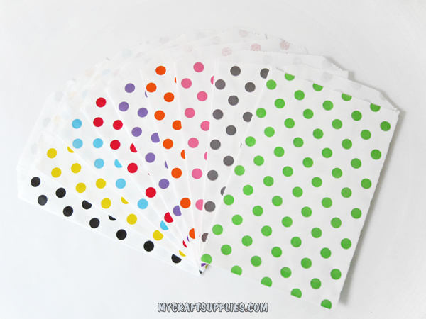 Multi-Color Polka Dot Paper Bags in Small and Medium