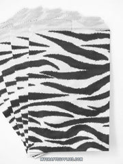 Zebra Print Paper Bags, Set of 100