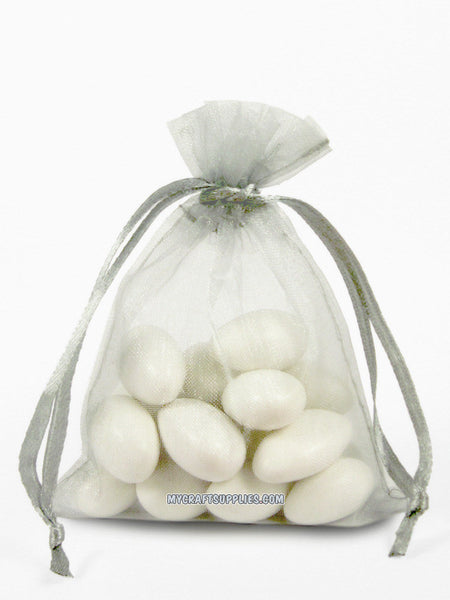 Light Silver Organza Bags