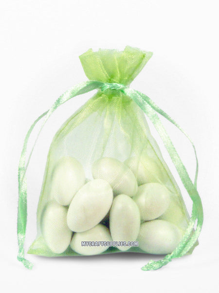 Lime Green Organza Bags