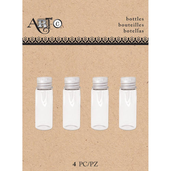 Set of 4 Tiny Threaded Glass Bottles; Art-C, 1.75 Inches