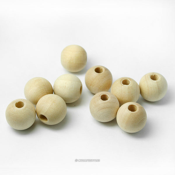 Natural Wood Round Beads 12MM (1/2 Inch)