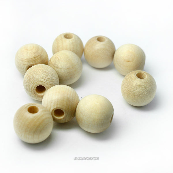 Natural Wood Round Beads 14MM (9/16 Inch)