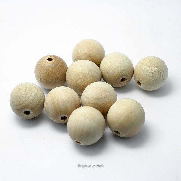 Natural Wood Round Beads 20MM (3/4 Inch)