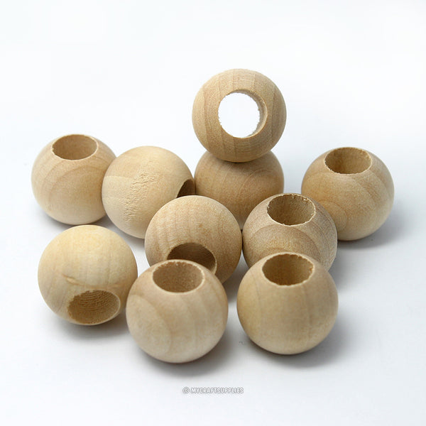 Natural Wood Round Beads 20MM (3/4 Inch) with Extra Wide Hole
