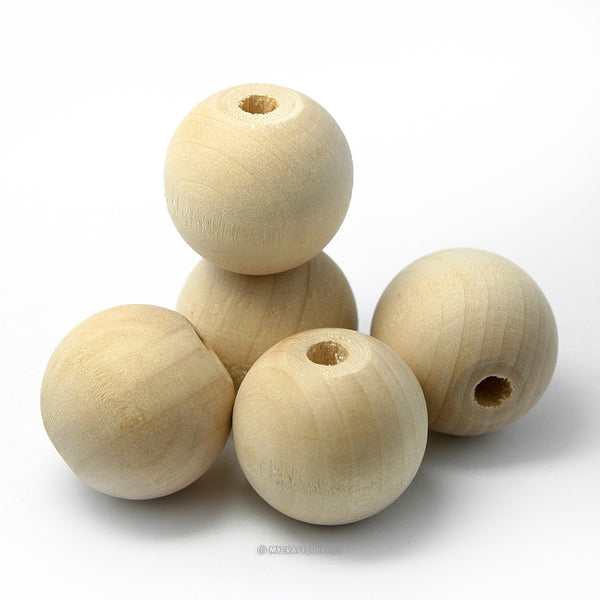 Natural Wood Round Beads 25MM (1 Inch)