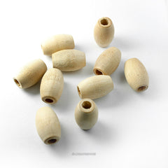 Natural Wood Oval Beads 1/2 x 3/4 Inch