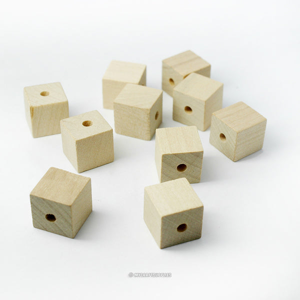 Natural Wood Square Cube Beads 1/2 Inch