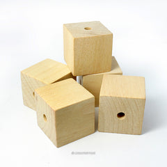 Natural Wood Square Cube Beads 1 Inch