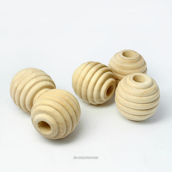 Natural Wood Beehive Beads 1 Inch Round