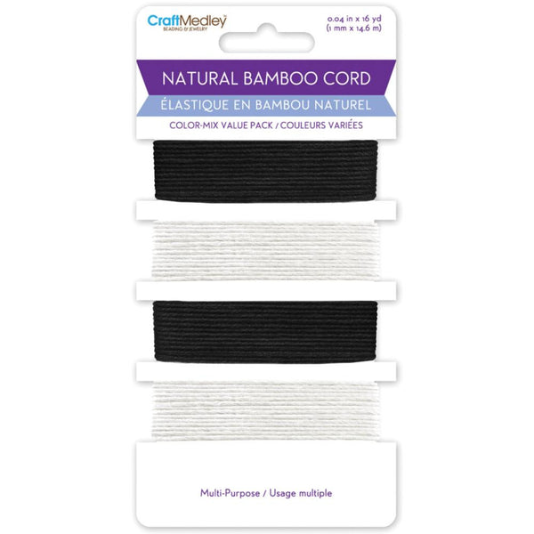 CraftMedley: Black and White Bamboo Cord Card; 16 Yards, for Jewelry and Crafts